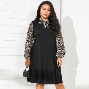 YOINS Plus Size Leopard Tie Up Dress